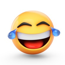 3D Rendering Laughing Emoji With Tears Isolated On White Background