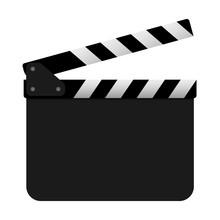 Film Clapper Board On White Background. Vector