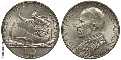 Poster  Vatican City silver coin 5 five liras 1939, Saint Peter in boat in rolling sea,