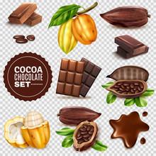Realistic Cocoa Transparent Background Set