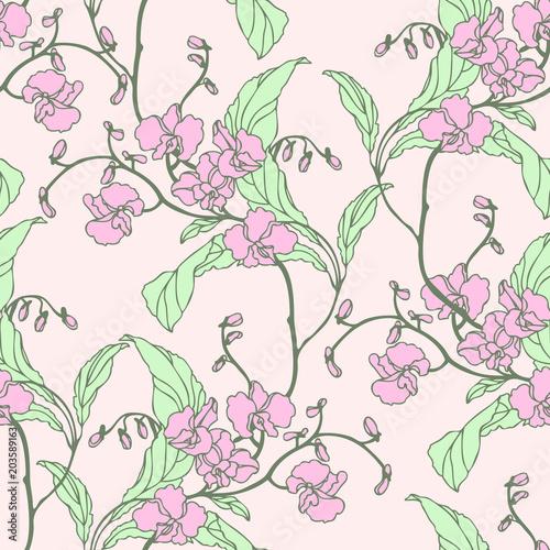 Wzór z pięknymi kwitnącymi kwiatami