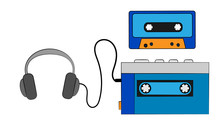 Blue Old Retro Vintage Hipster Portable Music Cassette Audio Player For Audio Cassettes From The 80's, 90's, Audio Cassette And Headphones On A White Background. Vector Illustration