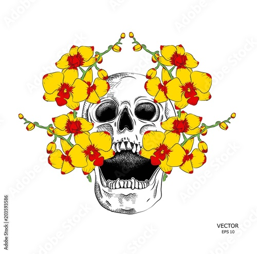 Printed kitchen splashbacks skull with a wreath. Vector illustration