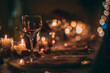 canvas print picture - Romantic Wine Glass with Candles