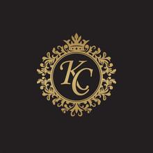 Initial Letter KC, Overlapping Monogram Logo, Decorative Ornament Badge, Elegant Luxury Golden Color