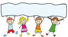 Happy Kids And Banner, Vector Icon, Colored Illustration, Place For Text