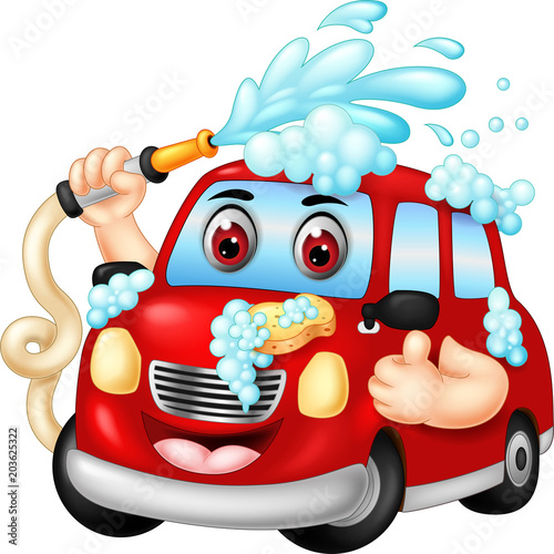 Staande foto Cartoon cars funny car wash cartoon posing with laughing and thumb up