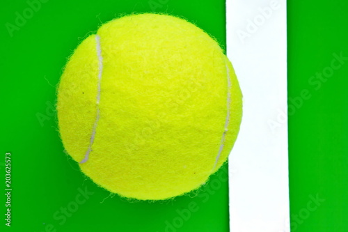 Yellow Tennis Ball Out White Border Line Bright Green Background