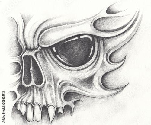 8536fd2f36b37 Art Mask Skull Tattoo. Hand pencil drawing on paper. - Buy this ...
