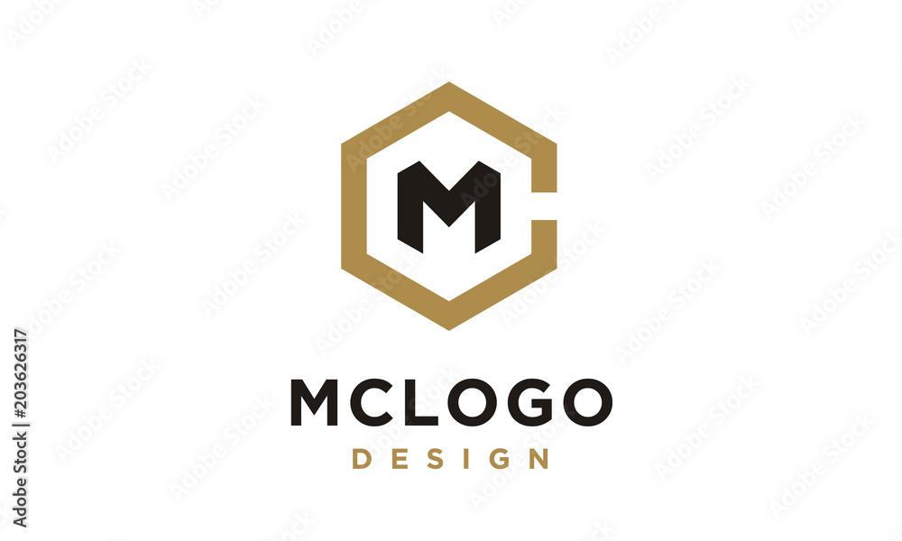 Fototapeta Hexagon Initials Monogram CM MC logo design