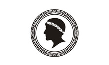 Ancient Greek Figure Philosopher Laurel Wreath Coin Medal Medallion Logo Design