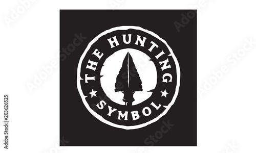 Vintage Retro Hipster Rustic Spear Arrowhead Stamp for Hunting Badge Logo Design Canvas Print
