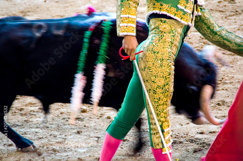 Keuken foto achterwand Stierenvechten Bullfighter in green giving a pass to the bull with his cape