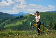 Happy Active Female Cyclist Ri...