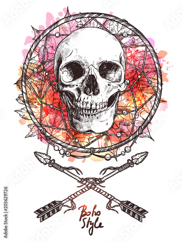 Printed kitchen splashbacks Watercolor skull Boho Sketch Illustration With Hand Drawn Human Skull With Indian Arrows And Dreamcatcher. Hipster Fashion Print With Grunge Blots And Splash