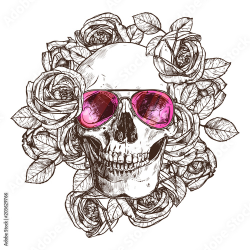 Printed kitchen splashbacks Watercolor skull Hand Drawn Human Skull With Sunglasses, Flowers. Sketch Vintage Style. Hipster Boho Fashion Vector Illustration Of Skull With Roses