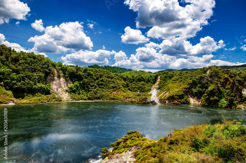 Stampa su Tela Frying pan lake view with steam in Waimangu volcanic valley park in Rotorua, New