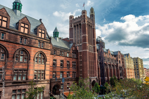 Tall historical university building in New York, USA Canvas Print