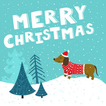 "Vector Christmas Card With Cute Dachshund In Santa's Hat And Knitted Sweater. Holiday Background With Hand Drawing Cartoon Character, Winter Landscape, Christmas Trees And Text ""Merry Christmas""."