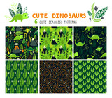 Fototapeta Dinusie - Vector set of six seamless patterns with dinosaurs, floral elements and mountains. Childish bright repeated textures with cartoon characters for wallpaper, fabrics and different surfaces.