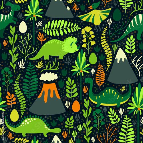 Materiał do szycia Wektor wzór z różnych dinozaurów, kwiatowy elementy i góry. Słodkie strony rysunku postaci z kreskówek. Dziecinna jasne powtarzające się tekstury Tapety, tkaniny i inne powierzchnie.