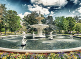 Fototapeta Sawanna - Fountain of Forsyth Park in Savannah, Georgia - USA