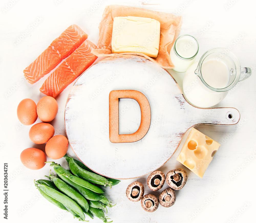 Fototapeta Natural foods rich in vitamin D