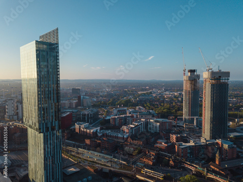 In de dag Milan Manchester City Centre Drone Aerial View Above Building Work Skyline Construction Blue Sky Summer