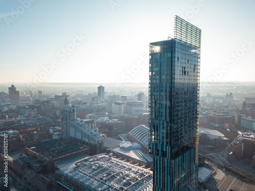 Photo Manchester City Centre Drone Aerial View Above Building Work Skyline Constructio