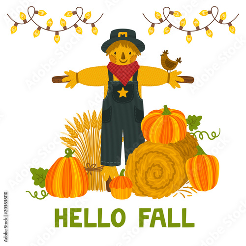 Bright Autumn Invitation Template Harvest Festival Card Von Beskovaekaterina Vector Background With Pumpkins Hay Bale Wheat Sheaf Scarecrow And
