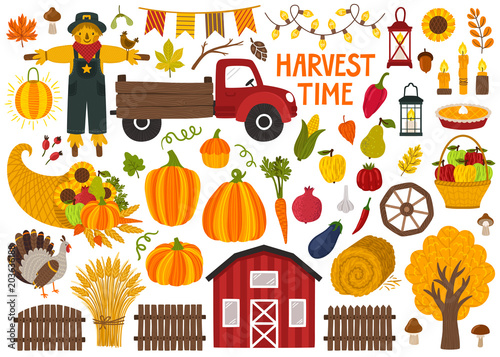 Fototapeta Set of cute hand drawn autumn objects