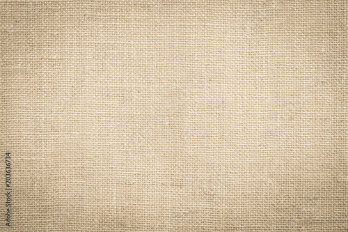 Hessian sackcloth woven fabric texture background in beige cream brown color Wallpaper Mural