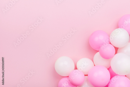 Fototapety, obrazy: Pastel pink table with colorful balloons for birthday top view. Flat lay style.