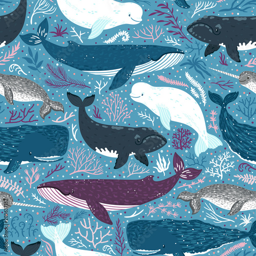 Obraz na plátne Vector seamless pattern with whales