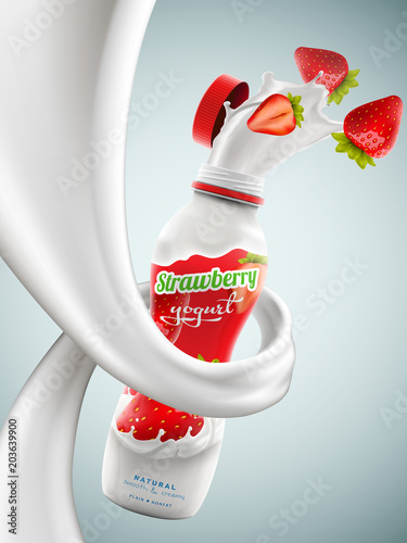 yogurt bottle ads with strawberry flavor in milk swirl commercial