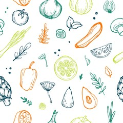 Vector seamless pattern with different vegetables. Perfect healthy lifestyle ...