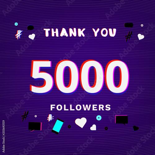 Fotografia, Obraz 5K Followers thank you post. Vector illustration.
