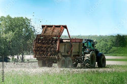 Obraz tracteur agricole avec remorque épandage de fumier en action sur le champ - fototapety do salonu