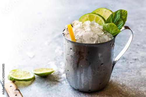 Valokuvatapetti Moscow Mule Cocktail with Lime, Mint Leaves and Crushed Ice in Metal Cup