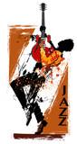 Gitara gracz z czerwoną gitarą elektryczną - 203649561
