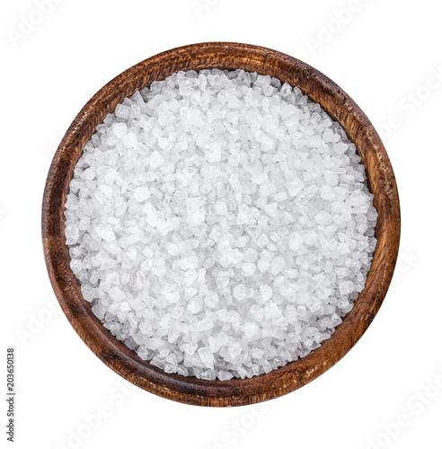 Tuinposter Kruiderij Sea salt in wooden bowl top view