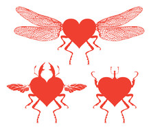 Vector Red Graphic Abstract Illustration. Hearts With Wings And Legs Of Insects. Set Of Flying And Crawling Hearts Isolated On White Background. T-shirt Design Template