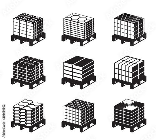Fotografía Different kinds of pavement tiles - vector illustrator
