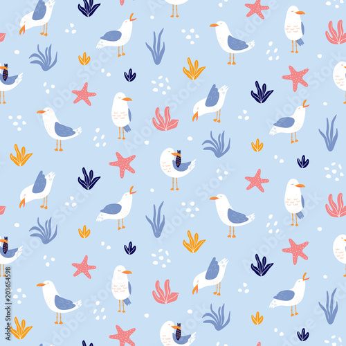 Obraz na plátně Colorful seamless pattern with seagulls in vector