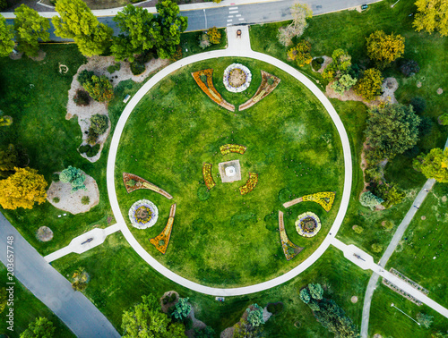 Denver city park garden aerial view