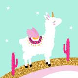 Cute white llama unicorn on glitter rainbow with pink cactus. Vector hand drawn illustration. - 203657928