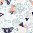 Trendy scribbles seamless pattern in pastel colors