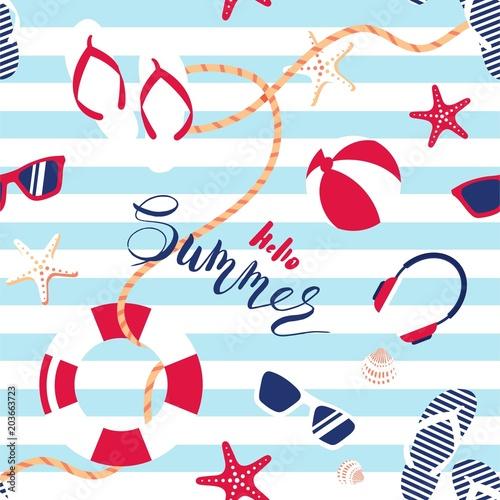 Cotton fabric Summer seamless pattern. Cute summer marine striped background.  Vector illustration