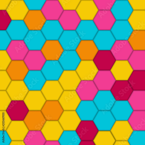 Fotobehang Pop Art Geometric pattern with hexagons. Abstract vector background