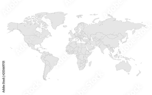 Foto auf Gartenposter Weltkarte Sketchy vector world map illustration isolated over white background